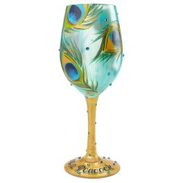 Lolita® Pretty as a Peacock Handpainted Wine Glass, 15 oz., , large