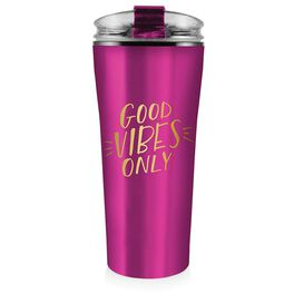 Stainless Steel Good Vibes Only Tumbler, 16 oz., , large