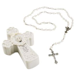 Precious Moments® First Communion Girl Cross Box with White Rosary, , large
