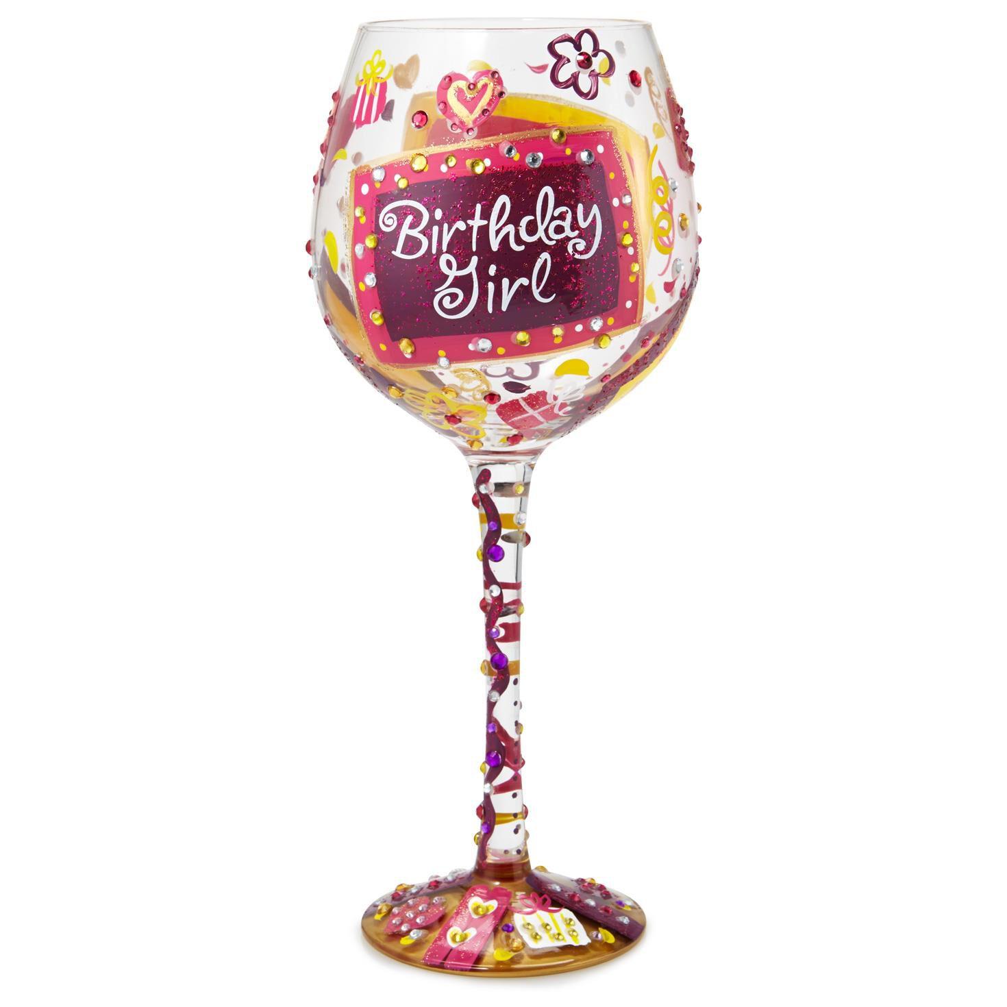 LolitaR Birthday Girl Oversized Hand Painted Wine Glass 22 Oz