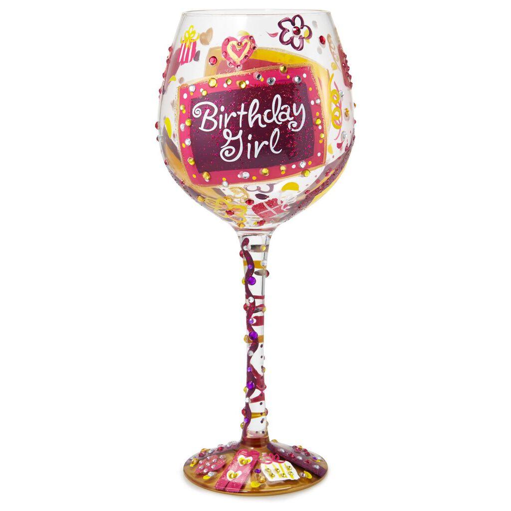 Lolita Birthday Girl Oversized Hand Painted Wine Glass 22 Oz