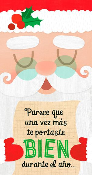Santa's List Spanish-Language Money Holder Christmas Card