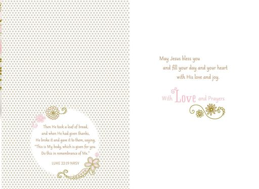Hands in White Gloves First Holy Communion Card for Goddaughter,