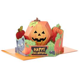 Cat and Pumpkin Pop Up Halloween Card, , large