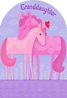 Unicorn Hug Valentine's Day Card for Granddaughter,