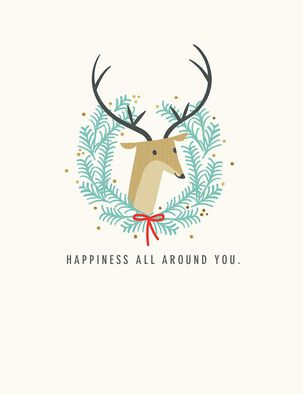 Deer Wreath Happiness All Around Christmas Card