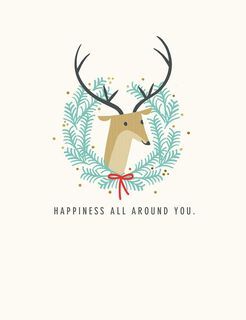 Deer Wreath Happiness All Around Christmas Card,