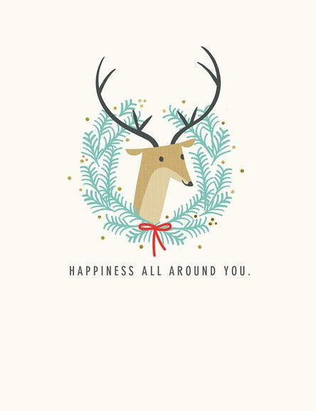 deer wreath happiness all around christmas card - Deer Christmas Cards
