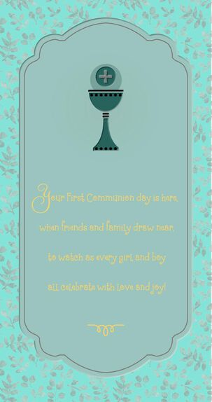 Chalice and Leaves First Communion Money Holder Card
