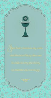 Chalice and Leaves First Communion Money Holder Card,