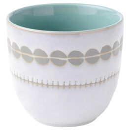White and Teal Small Stoneware Bowl, , large