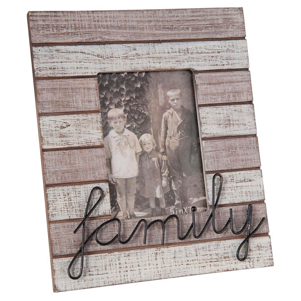 Family Whitewashed Wood Slat Picture Frame 5x7 Picture Frames