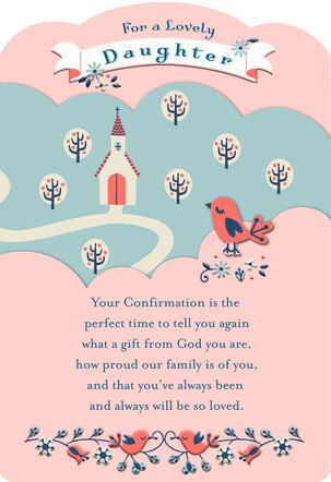 Church on the Hill Religious First Communion Card for Daughter