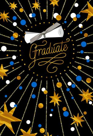 Gold Stars and Diploma Graduation Card, Pack of 4