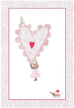 Mouse Holding Heart Valentine's Day Card
