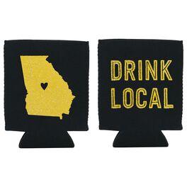 "Georgia State Silhouette ""Drink Local"" Koozie, , large"