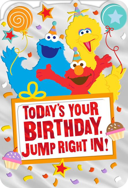 Sesame Street Elmo Big Bird And Cookie Monster Birthday Card