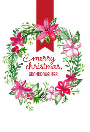 Watercolor Wreath Christmas Card for Adult Granddaughter