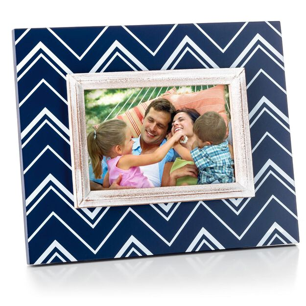 navy blue chevron wood picture frame 4x6