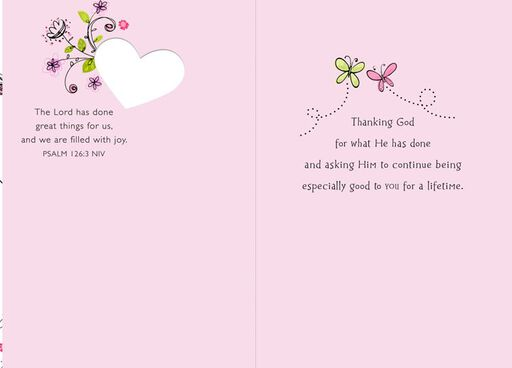 Pink Floral Bouquet Religious Wedding Card,