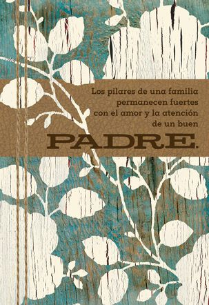 Wood Grain Flowers Spanish-Language Father's Day Card