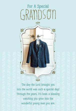 Boy's Suit First Communion Card for Grandson