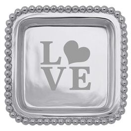 "Love Silver Aluminum Square Trinket Tray, 4.25"", , large"