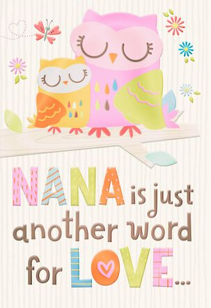 Two Owls Nana Means Love Grandparents Day Card