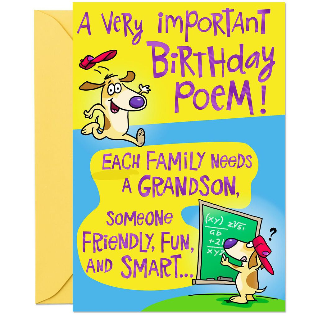 Poem For A Fun Grandson Birthday Card