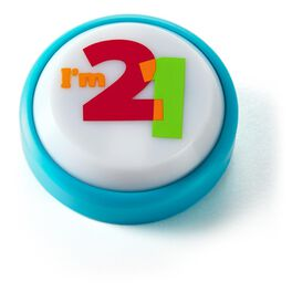 21st Birthday Mini Sound Button with Light, , large