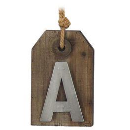 Wood & Metal Monogram Tag Décor, , large