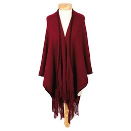 Burgundy Whipstitch Knit Shawl, , large