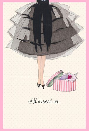 Little Black Dress and Hat Box Birthday Card