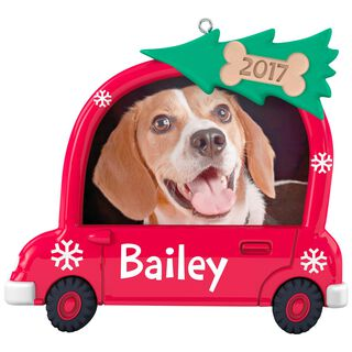 Holly Doggy Christmas Personalized Dog Photo Frame Ornament,