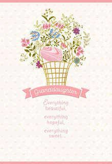 Spring Flower Basket Easter Card for Granddaughter,