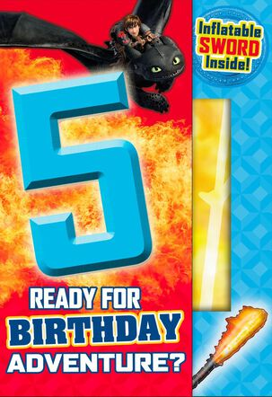 How to Train Your Dragon 5th Birthday Card With Inflatable Sword