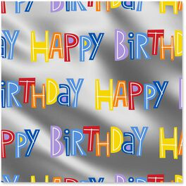 Happy Birthday on Silver Wrapping Paper Roll, 22.5 sq. ft., , large