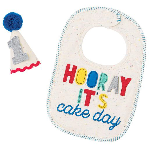 Baby Boy 1st Birthday Bib And Party Hat Set