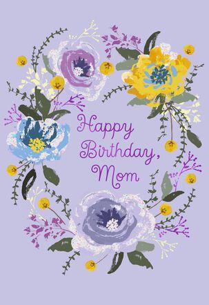 Flower Wreath on Lavender Birthday Card for Mom