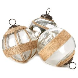 Glass With Twine Ball Decor, Set of 3, , large