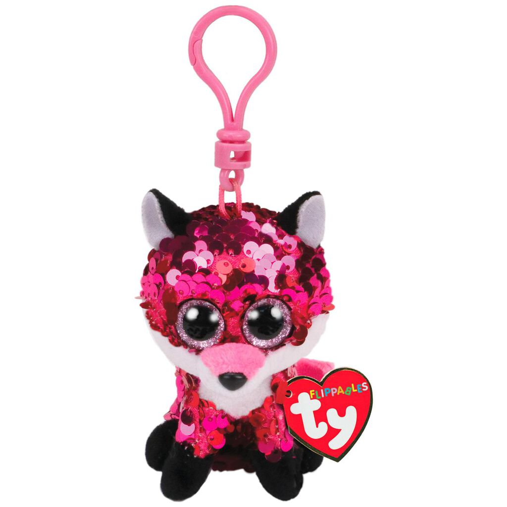 Ty Flippables Jewel Fox Sequin Stuffed Animal Clip, 4