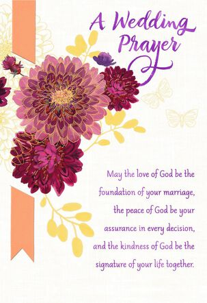 Dahlia Flowers Religious Wedding Card