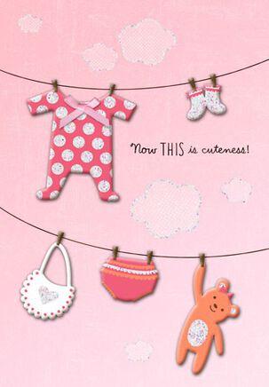 Pink Baby Clothesline Baby Congratulations Card