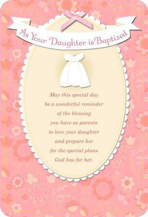 White Christening Gown Baby Girl Baptism Card
