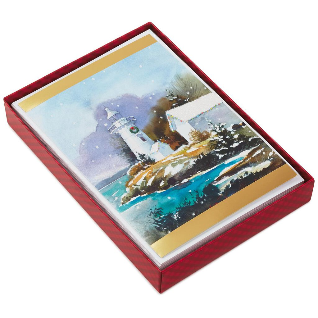 Lighthouse on Water Christmas Cards, Box of 16 - Boxed Cards - Hallmark