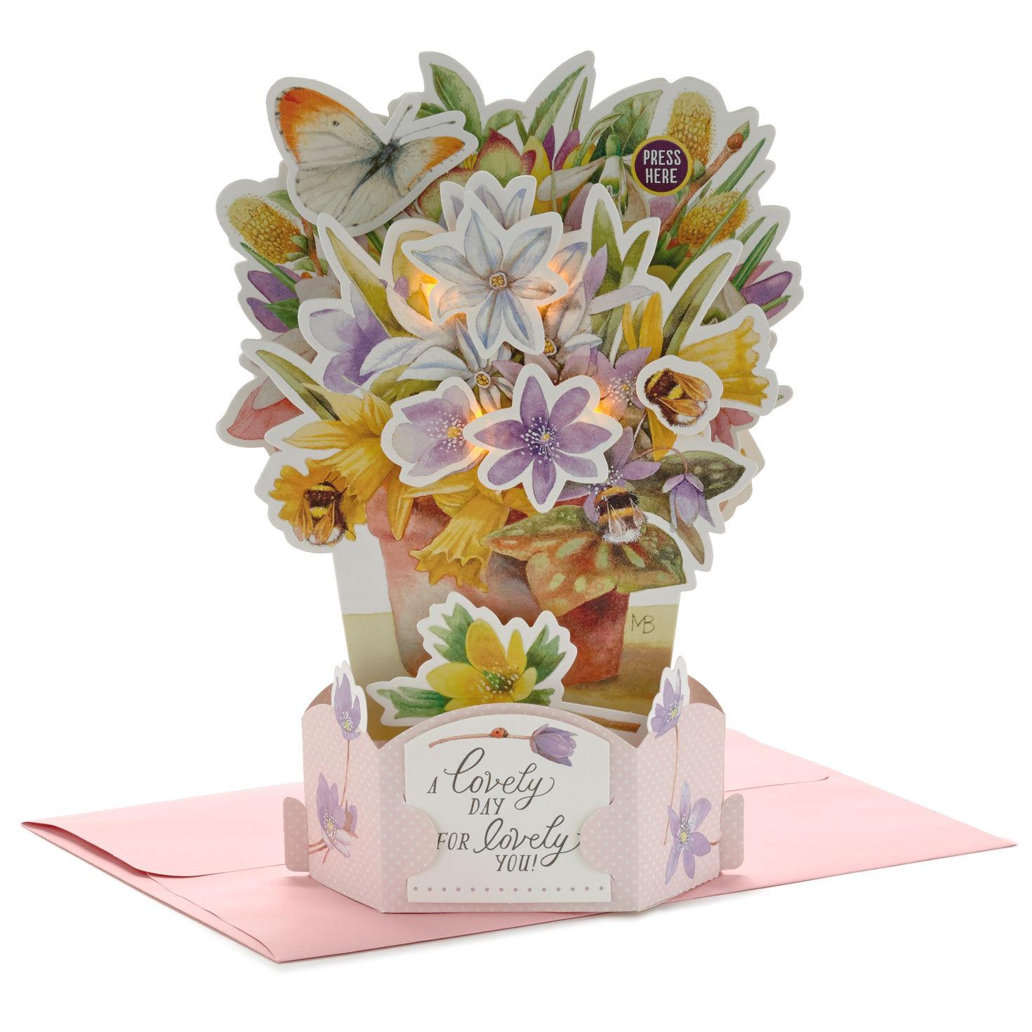 Happy Birthday Pop-Up CardCat /& Flowers KeepsakeFloral Design Flowers
