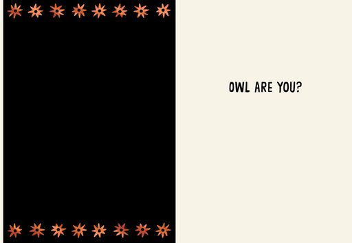 Orange and Black Owl Greeting Halloween Card,