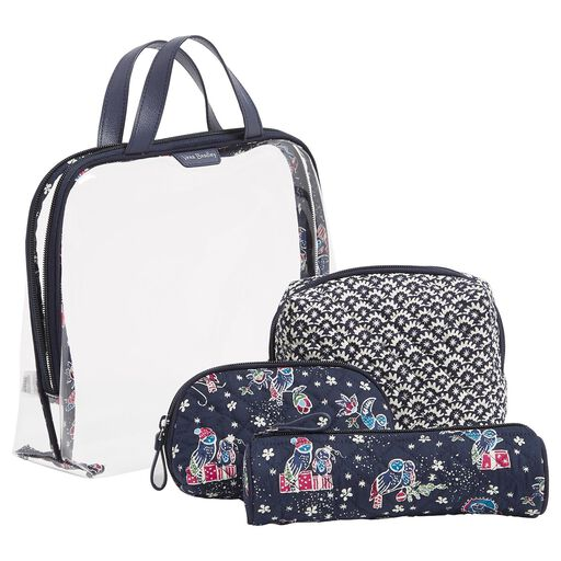 Vera Bradley 4 Piece Cosmetic Set In Holiday Owls