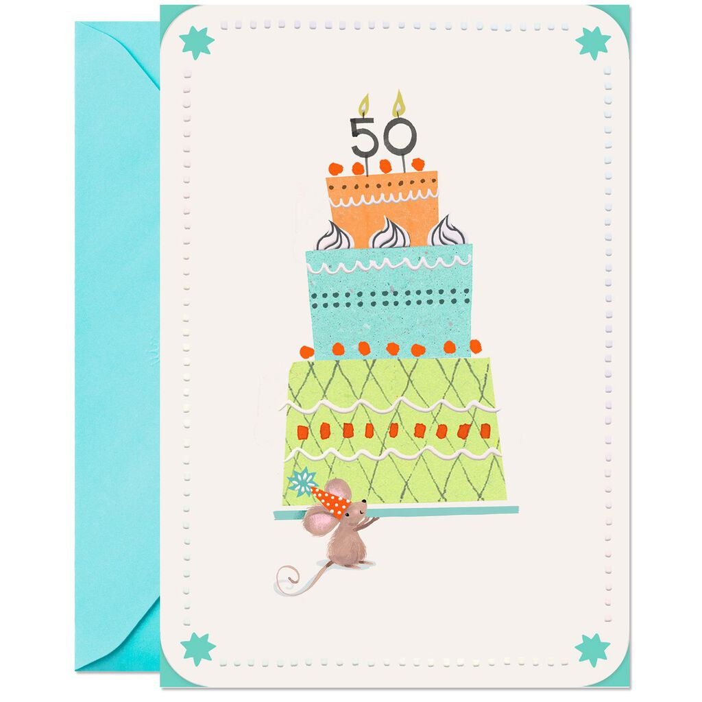 Mouse With Cake 50th Birthday Card