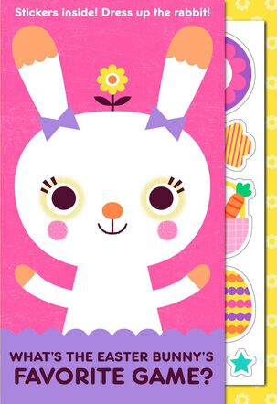 Bunny Games Joke Kid's Easter Card With Stickers